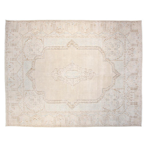 "10'2""x12"" Brooks Hand-Knotted Rug, Ivory"