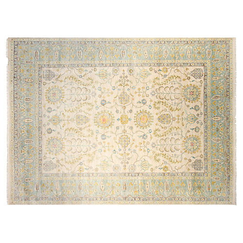 9'x12' Maggie Hand-Knotted Rug, Ivory/Aqua