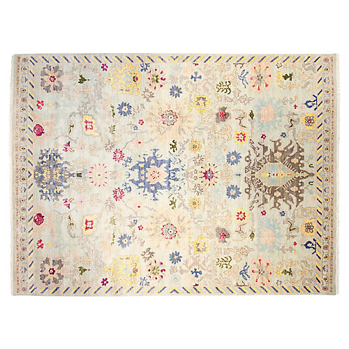 9'x12' Passion Hand-Knotted Rug, Bone