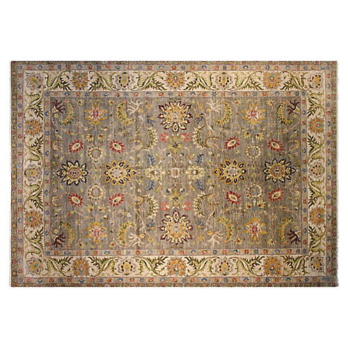 10'x14' Agra Hand-Knotted Rug, Gray/Ivory