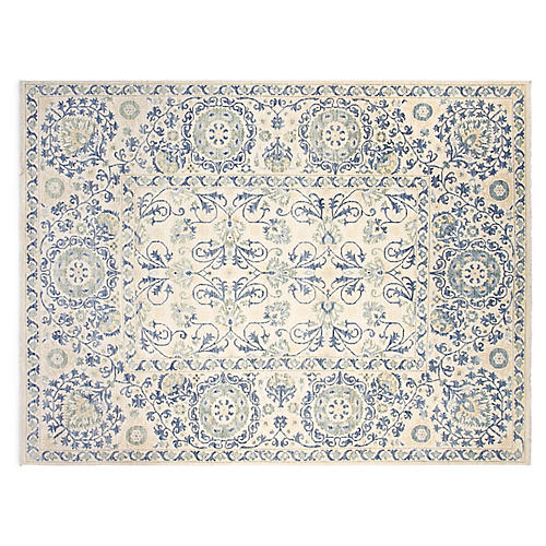 8'x10' Suzani Hand-Knotted Rug, Ivory/Blue