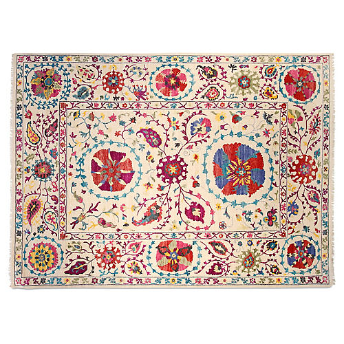 9'x12' Suzani Hand-Knotted Rug, Ivory/Red