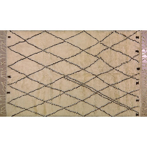 Moroccan Hand-Knotted Rug, Ivory/Brown