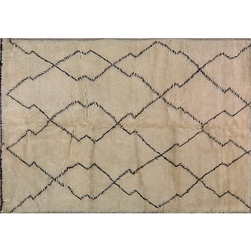 6'x9' Moroccan Hand-Knotted Rug, Brown/Ivory