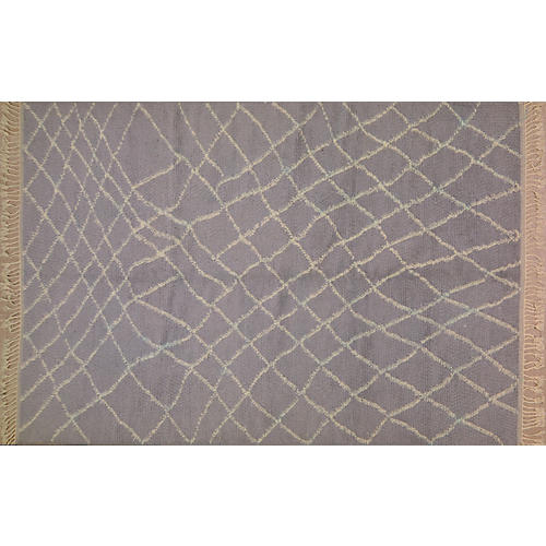 "6'6""x9'3"" Moroccan Hand-Knotted Rug, Blue/Gray"