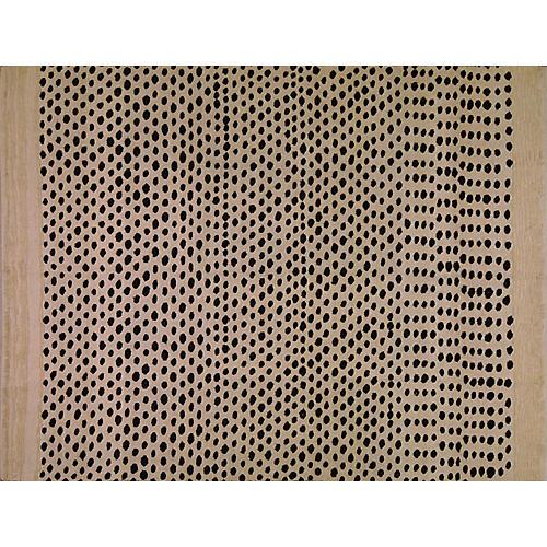 "7'8""x10' Tunisian Flat-Weave Rug, Ivory/Black"