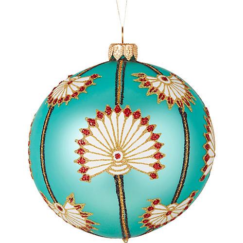 Lotus Ornament, Blue/Multi