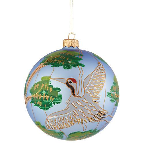 Crane Ornament, Light Blue