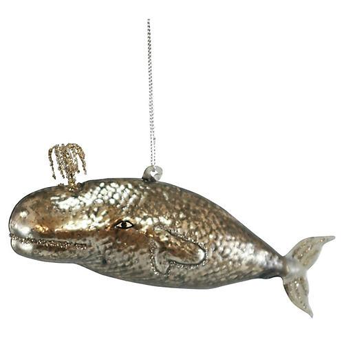 Victorian Whale Ornament, Silver/Gold
