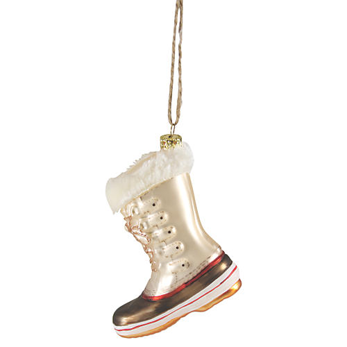 Winter Boot Ornament, Ivory