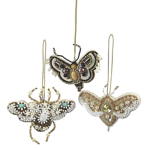 Asst. of 3 Beaded Moth Ornaments, Gold/Multi