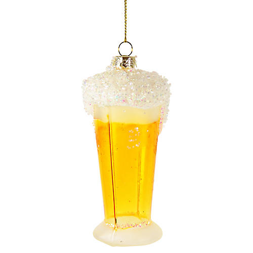 Frothy Beer Ornament, Yellow/White
