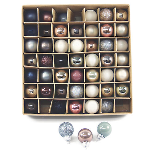 Asst. of 49 Muted Ball Ornaments, Ivory/Multi