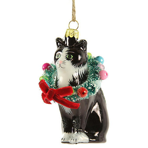 Holiday Cat Ornament, Black/Multi