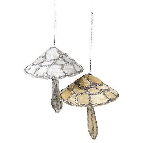 Asst. of 2 Mushroom Ornaments, Silver/Gold