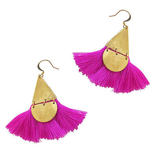 Tahiti Drop Earrings, Fuchsia