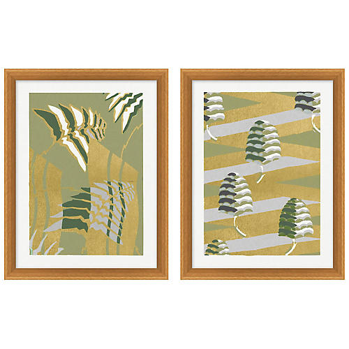 Gilded Pattern 3-4 Diptych