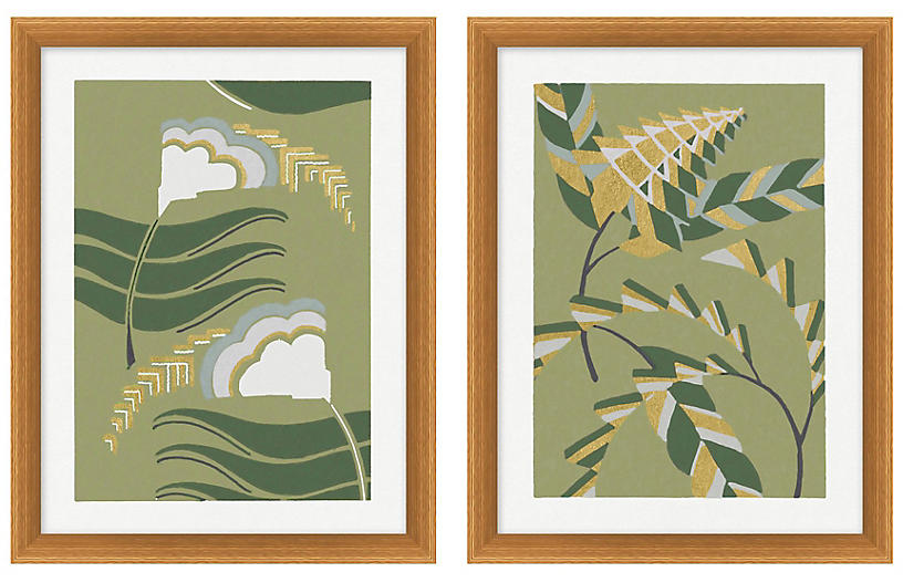 Gilded Pattern 5-6 Diptych