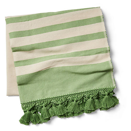 Kata Striped Beach Blanket, Green