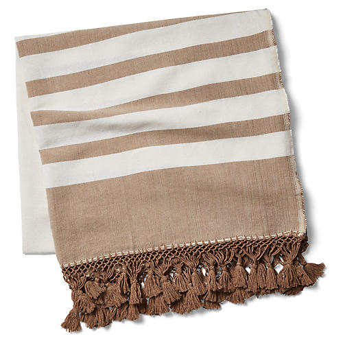 Kata Striped Beach Blanket, Taupe