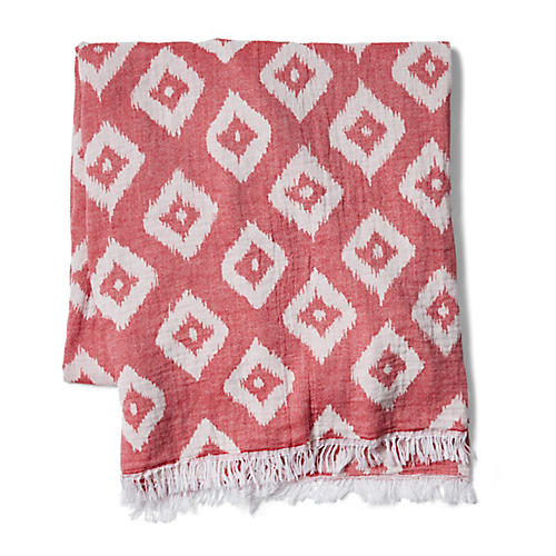 Ikat Beach Blanket, Nantucket Red