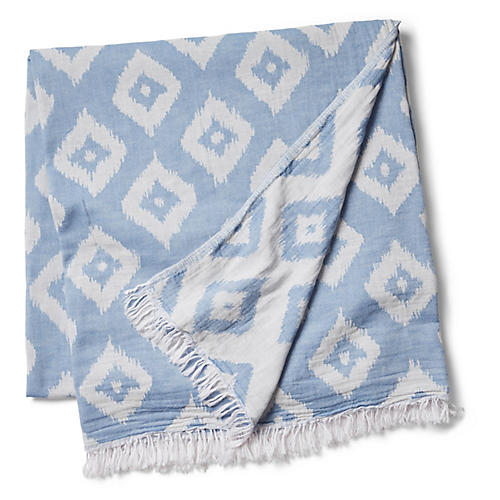 Ikat Beach Blanket, Denim