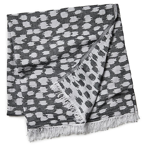 Animal Print Beach Blanket, Black/White