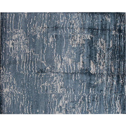 "8'x9'10"" Modern Abstract Rug, Blue"