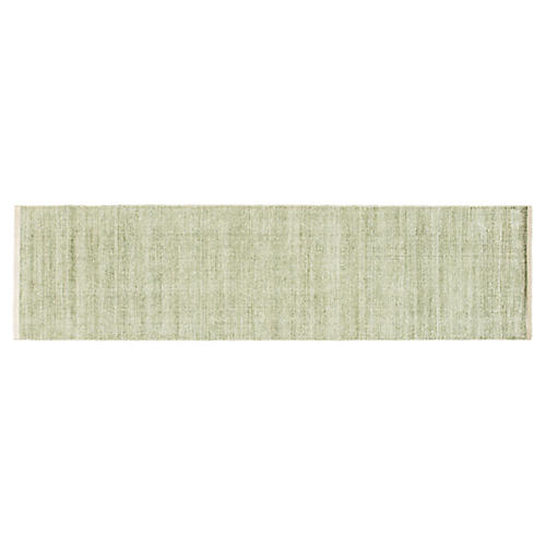 3'x12' Modern Solid Runner, Green