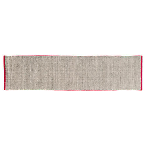 3'x12' Modern Solid Runner, Gray/Red