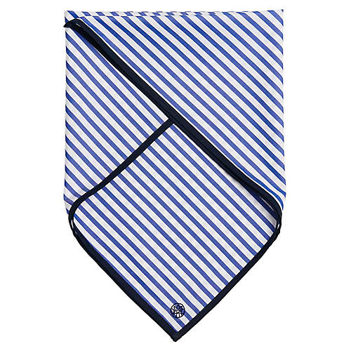 Signature Cotton Scarf, Royal Blue/White