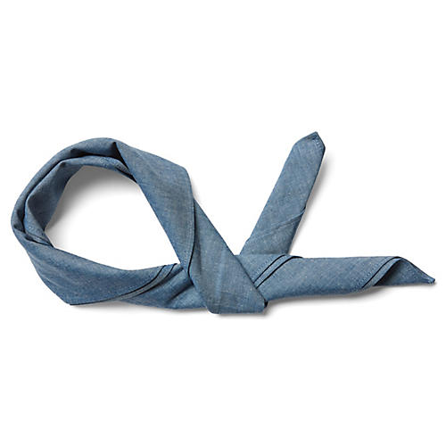 Signature Cotton Scarf, Chambray