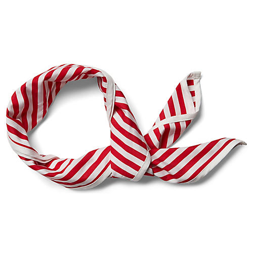 Signature Cotton Scarf, Red/White