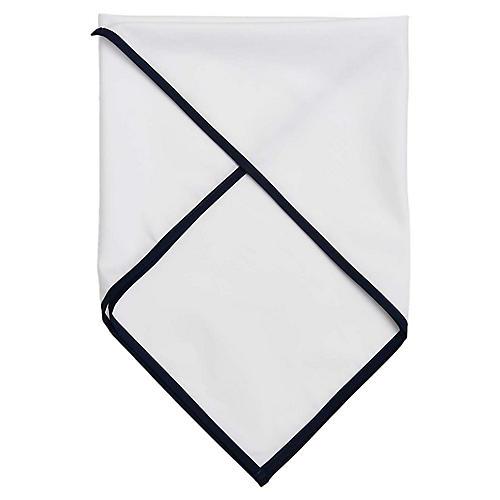 Signature Cotton Scarf, White/Navy