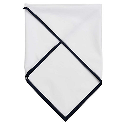 Signature Cotton Scarf, White/Navy