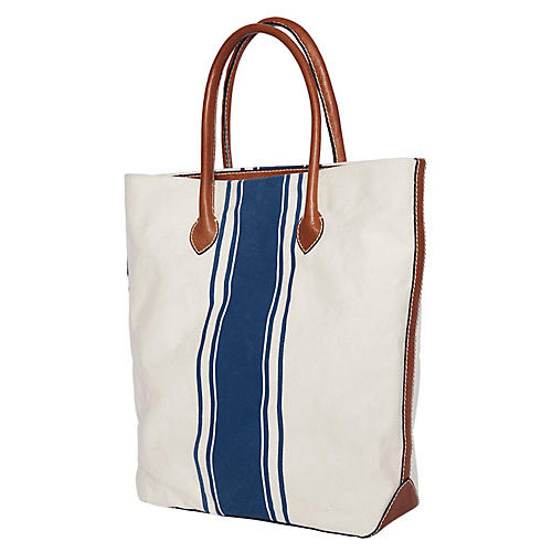 Signature Tote, White/Blue