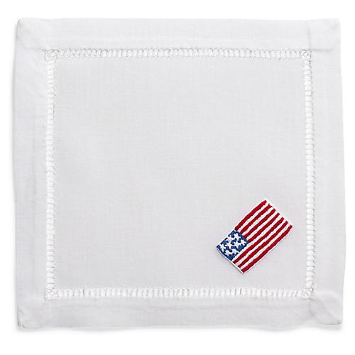S/4 American Flag Cocktail Napkins, White/Multi