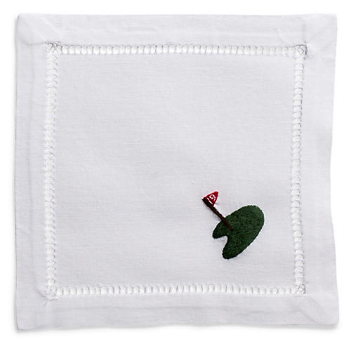 S/4 Golf Cocktail Napkins, White/Multi