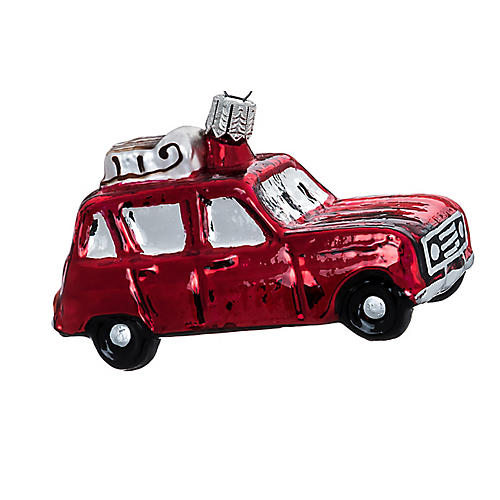 Vintage Car Ornament, Red/Silver