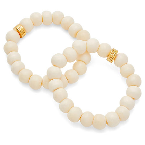 Bone Stretch Bracelets, Ivory/Gold