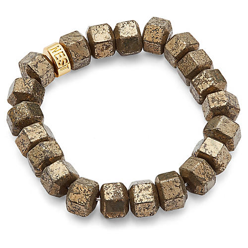 Pyrite Stretch Bracelet, Gold