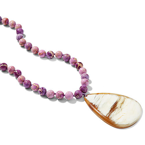 Jasper Horn Pendant Necklace, Purple