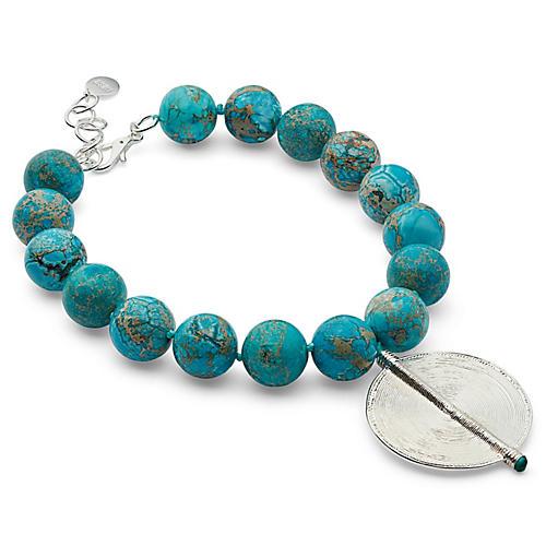 Jasper Pendant Necklace, Turquoise