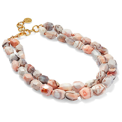 Botswana Double Strand Necklace, Pink