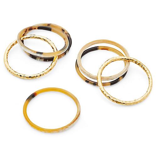 S/7 Horn Bangles, Gold