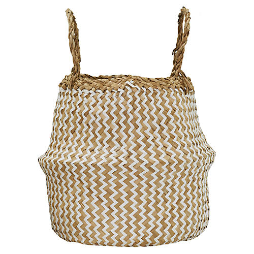 "11"" Zig-Zag Basket, Natural/White"