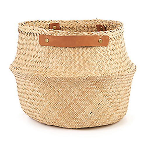 "15"" Belly Basket w/ Leather Handles, Natural"