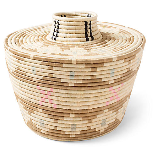 "17"" Accra Floor Basket, Natural/Multi"