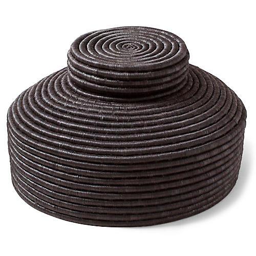 """16"""" Tripoli Lidded Floor Basket, Black"""