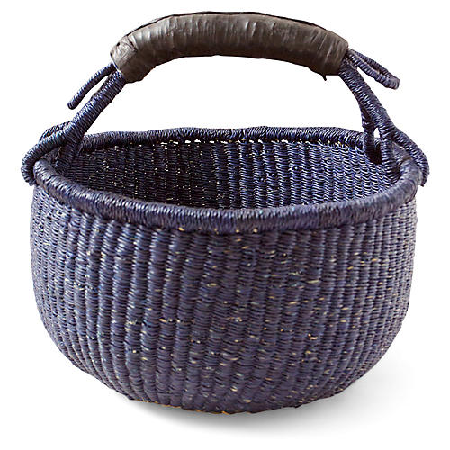 Tunis Basket w/ Leather Handle, Navy/Brown